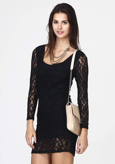 Soft Heart Sheath Dress - Black