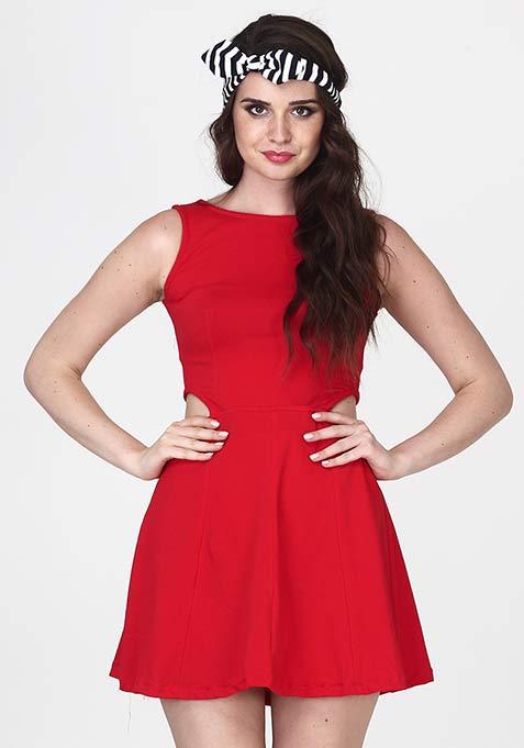 First Cut Red Skater Dress