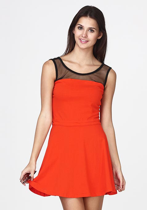 Mesh Mire Skater Dress - Orange
