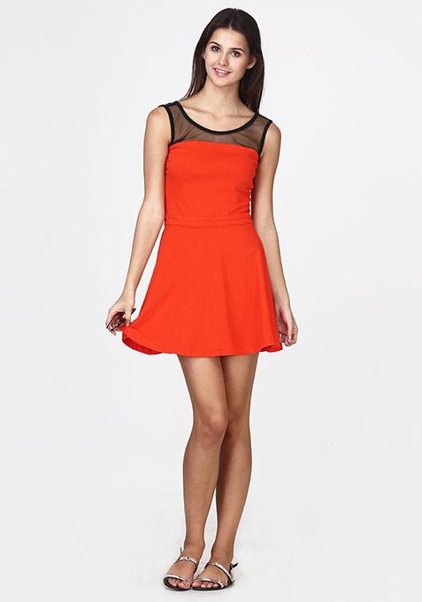 Mesh Mire Skater Dress - Orange