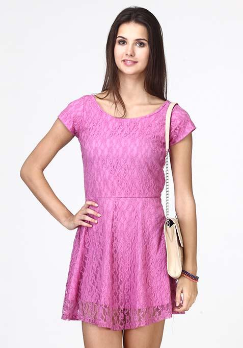 Girl Charm Skater Dress - Purple