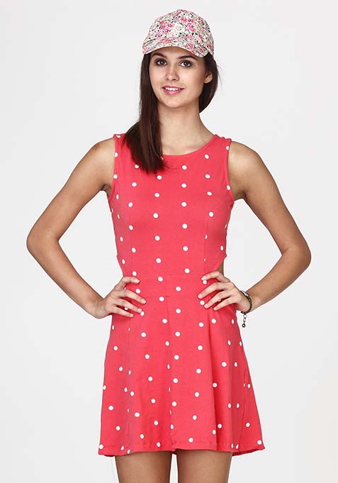 Cutting Cute Polka Skater Dress