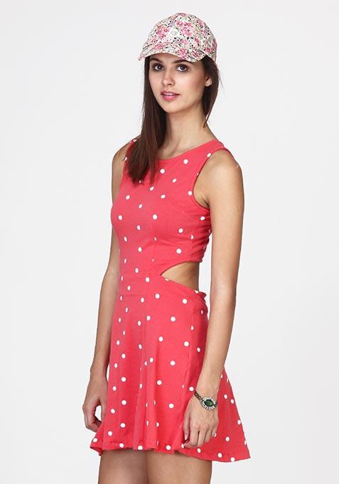 Cutting Cute Polka Skater Dress