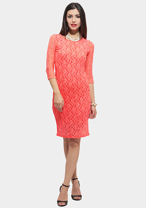 Lace Is More Midi Dress - Coral