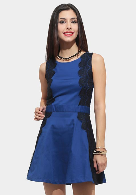 Lace Reflect Skater Dress - Blue