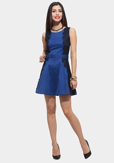 Lace Reflect Skater Dress - Blue
