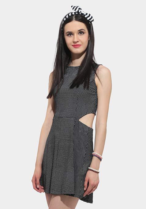 Monochrome Dots Cutaway Dress
