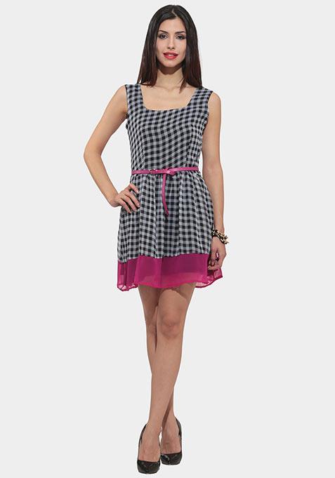 Gingham Pop Skater Dress