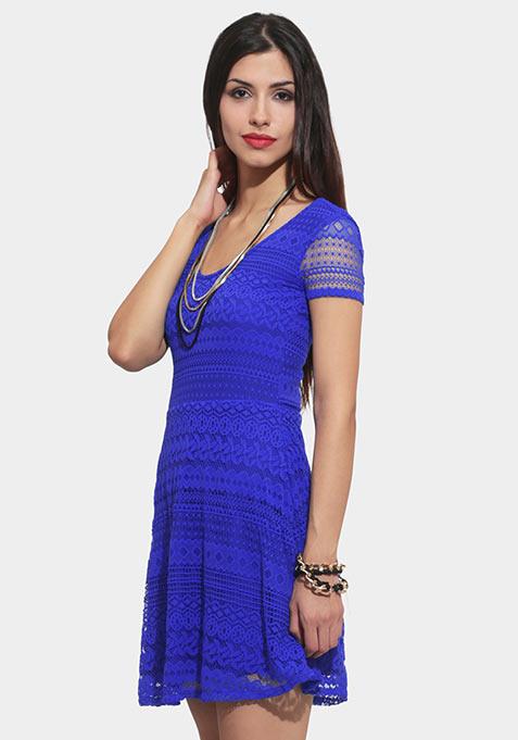 Happy Place Lace Dress - Cobalt
