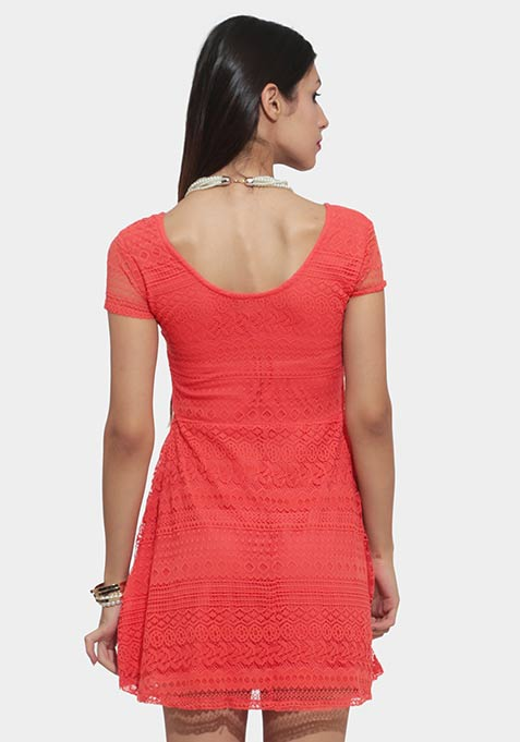 Happy Place Lace Dress - Coral