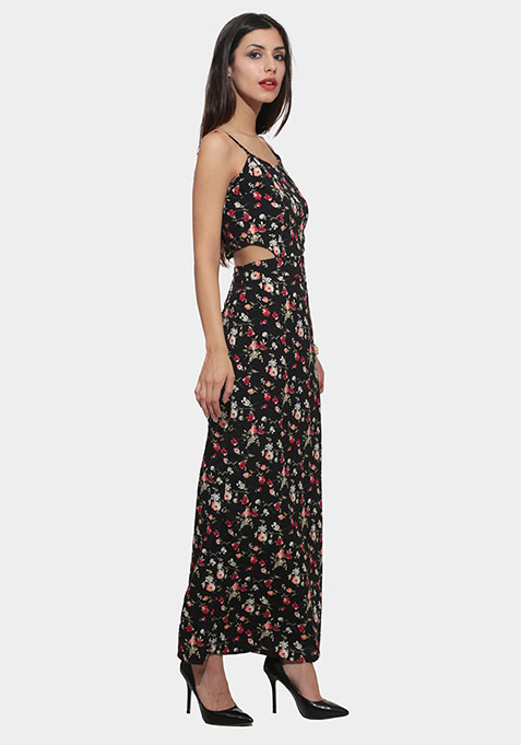 Cherry Floral Cutaway Maxi Dress