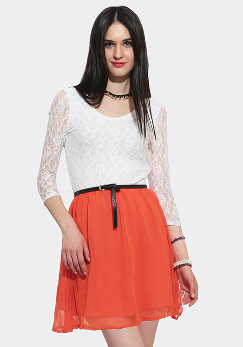 Ace Lace Skater Dress - Orange