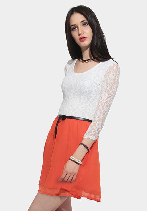 Ace Lace Skater Dress - Orange
