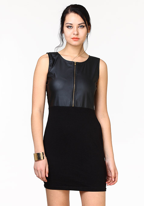 Half Wild Bodycon Dress - Leather