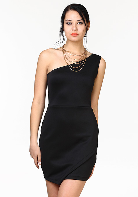 Wild Side Bodycon Dress - Black