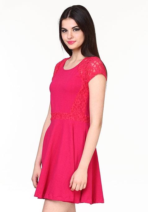 Lace Trace Skater Dress - Pink