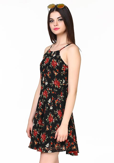 Strappy Sass Floral Dress - Black