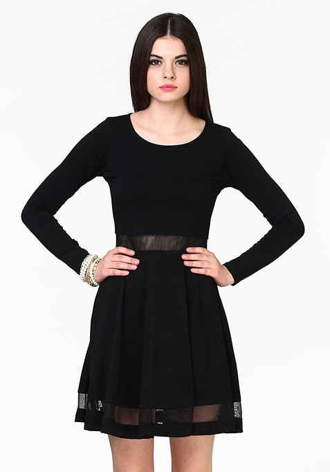 Seeing Through Skater Dress - Black