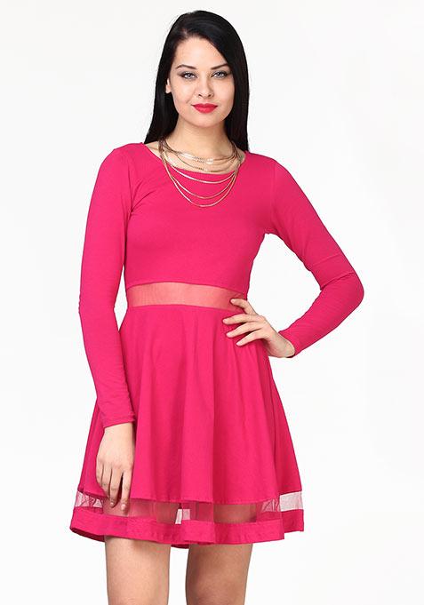 Seeing Through Skater Dress - Pink