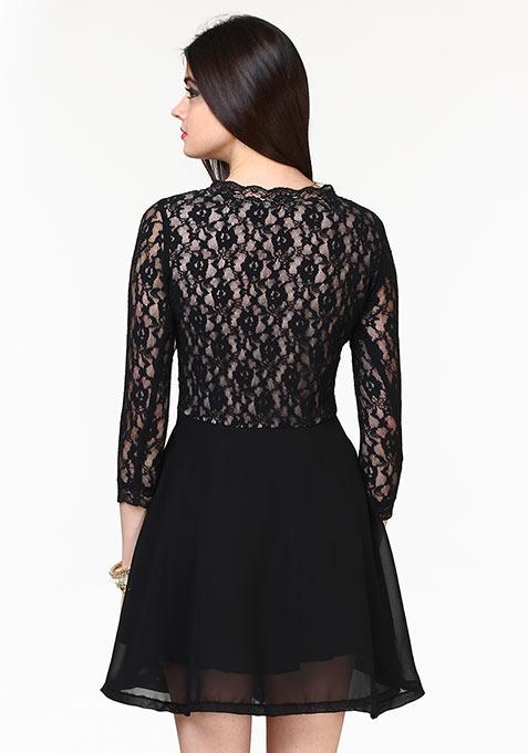Lace Up Skater Dress - Black
