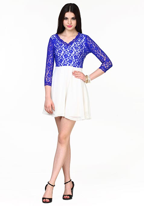 Lace Up Skater Dress - Blue