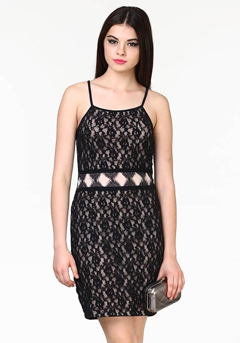 Lace Overlap Bodycon Dress - Black