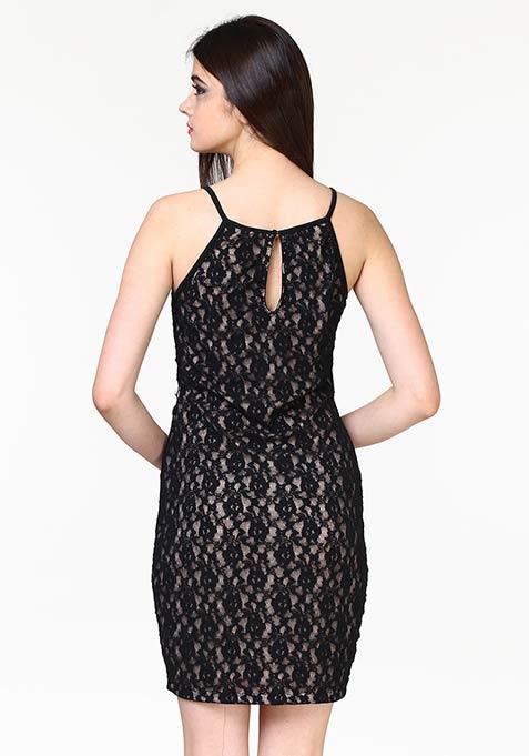 Lace Overlap Bodycon Dress - Black