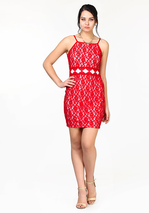 Lace Overlap Bodycon Dress - Red