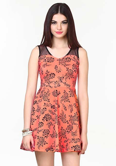 Mesh Sway Coral Dress