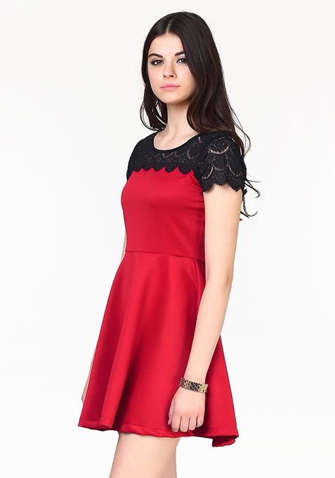 Sweet Swing Skater Dress - Red
