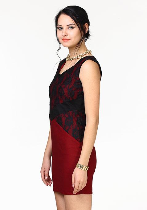 Lace Infuse Dress - Oxblood