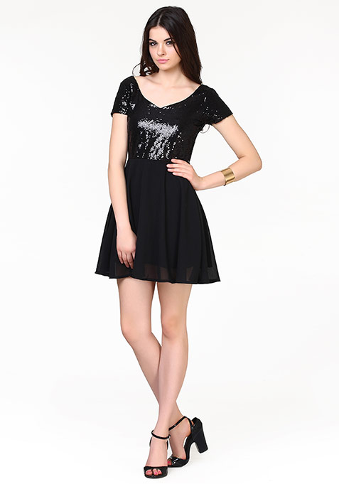Rise And Shine Skater Dress - Black
