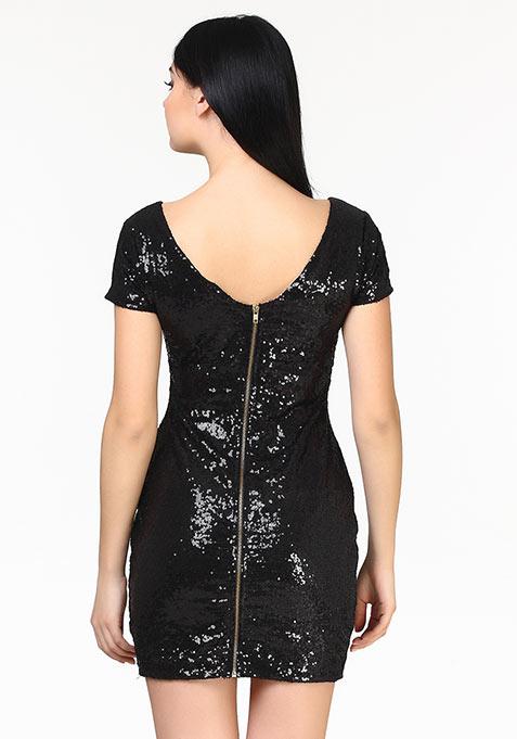 Shine High Sequin Dress - Black