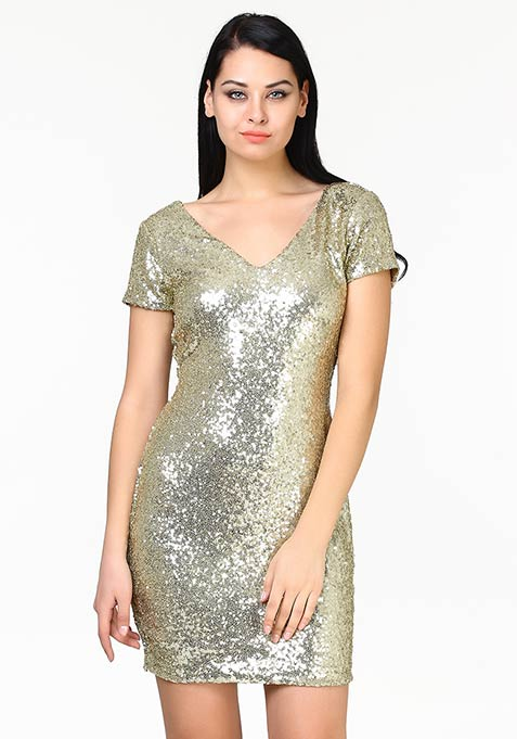 Shine High Sequin Dress - Gold