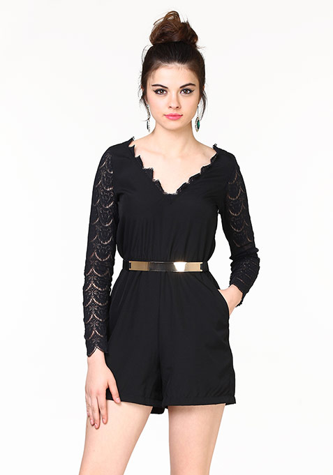Lace Your Bets Playsuit - Black