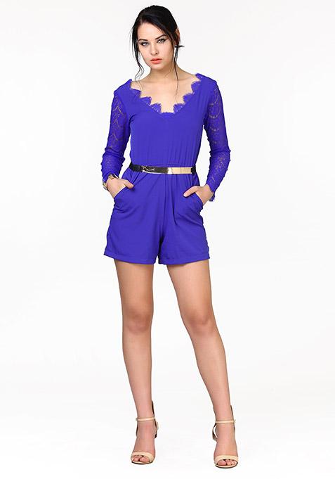 Lace Your Bets Playsuit - Blue