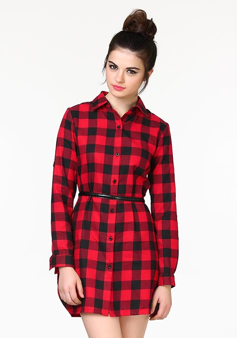 High On Tartan Shirt Dress - Red