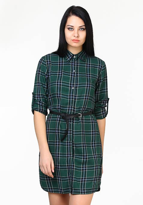 High On Tartan Shirt Dress - Green