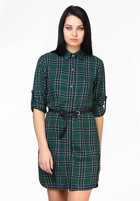 High On Tartan Shirt Dress - Green