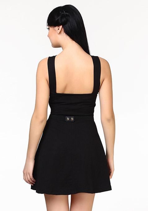 Sassy Swing Skater Dress - Black