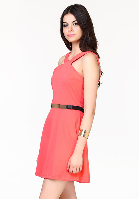 Sassy Swing Skater Dress - Coral