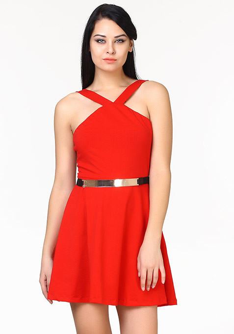Sassy Swing Skater Dress - Red