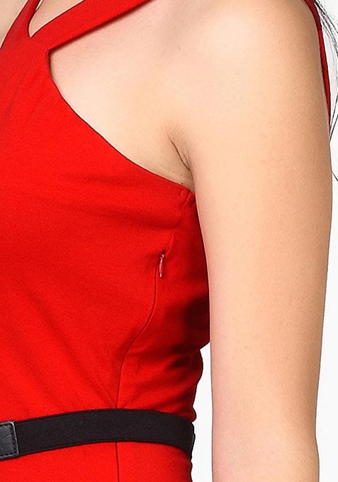 Sassy Swing Skater Dress - Red