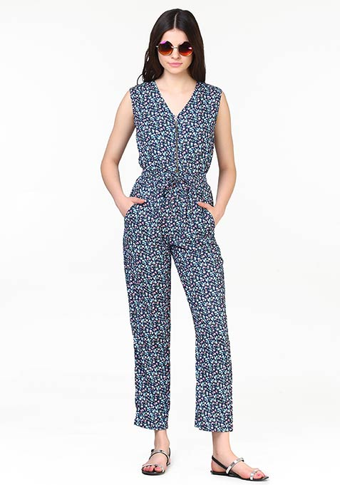 Zip This Jumpsuit - Floral