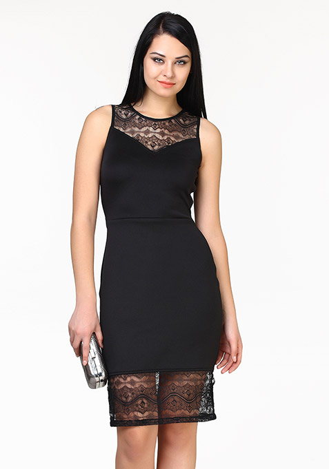 Lady Grace Midi Dress - Black