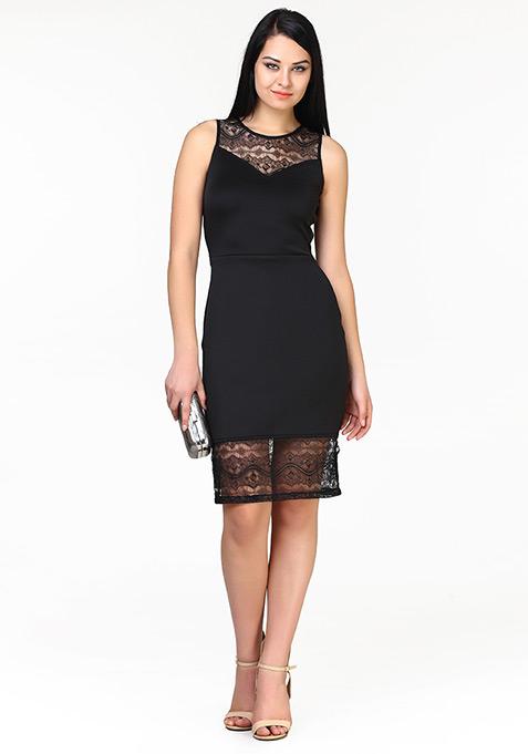 Lady Grace Midi Dress - Black