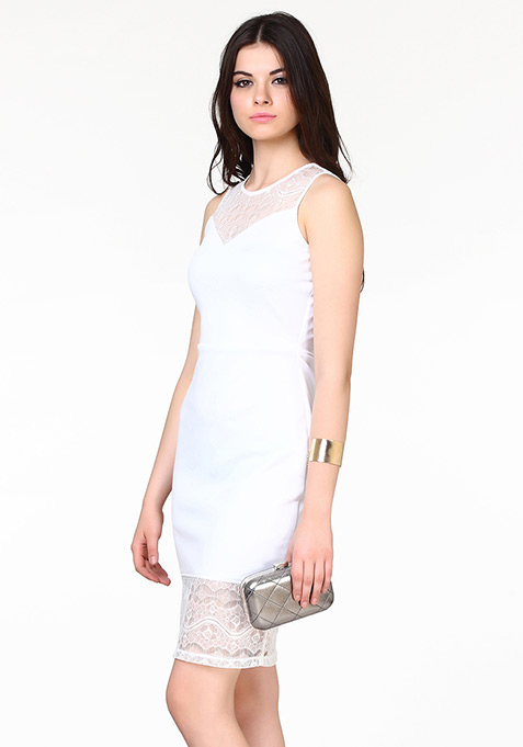 Lady Grace Midi Dress - White