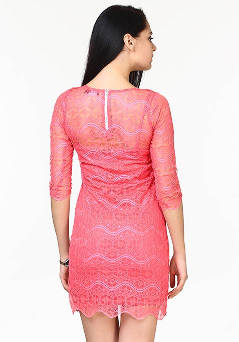 Lace Wave Bodycon Dress - Pink