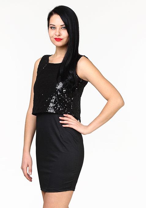 Sequin Stunner Dress - Black
