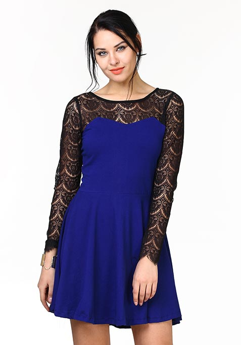 Get Laced Skater Dress - Blue